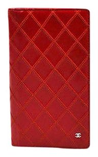 Chanel Chanel Red Leather Quilted Cc Bifold Coat Wallet