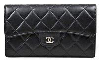Chanel Chanel Black Shw Lambskin Leather Quilted Flap Cc Embellished Wallet