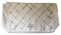 Chanel CHANEL WHITE MICRO SUEDE DUST BAG KARL LAGERFELD BAG CLASSIC MEDIUM
