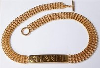 Chanel Chanel Womens Goldtone Gold Multi-chain Nameplate Toggle Jewelry Belt