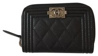 Chanel Chanel Zip Around Card Holder/Coin Wallet in Black Shiny Caviar Ruthenium HW