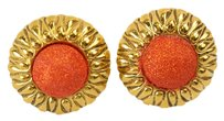 Chanel *CHECK STOCK* Chanel gold and orange Red Stone Candy earrings CCAV210 NOT AT STORE