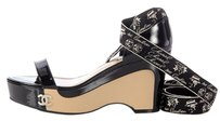 Chanel Ch.j1124.17 Black Tan Ribbon Wedges