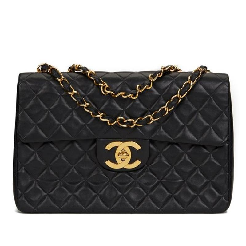 Chanel Classic Flap Quilted Jumbo Maxi Black Lambskin