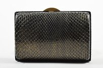 Chanel Gold Tone Python Black Clutch