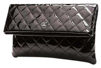 Chanel Quilted Patent Leather Beauty Cc Black Clutch