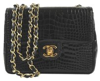 Chanel Crocodile Vintage Mini Flap Gold Shoulder Bag