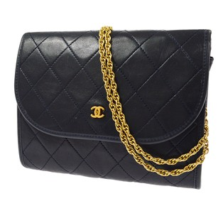 Chanel Double Chain Leather Shoulder Bag