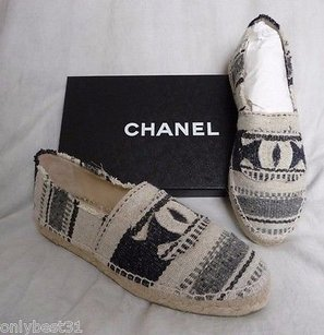 Chanel Striped Canvas Gray Flats