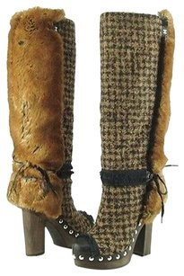 CHANEL Camel Womens Knee High Boots