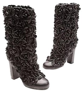 Chanel Lambskin Camellia Heeled Size Black Boots
