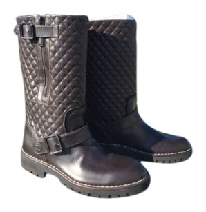 Chanel Quilted Leather Mid Calf Motorcycle Weather Brown Boots