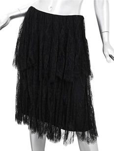 Chanel 01p Womens Black Lace Skirt