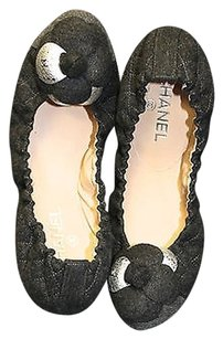 CHANEL Gray Flannel Camellia Flower Grey Platforms