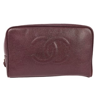 Chanel Hand Leather Bordeaux Clutch