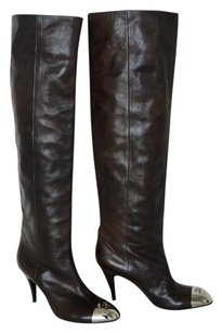 Chanel Knee High Silver brown Boots