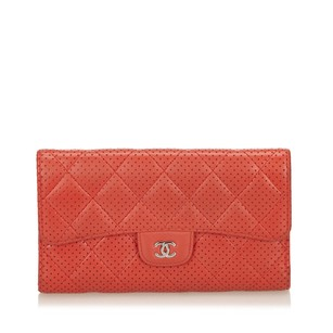 Chanel Lambskin Leather,leather,long Wallets,red,6bchco003
