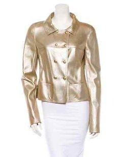 Chanel Gold Leather Wtags Jacket