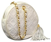 Chanel Leather Round Pouch Wristlet in White
