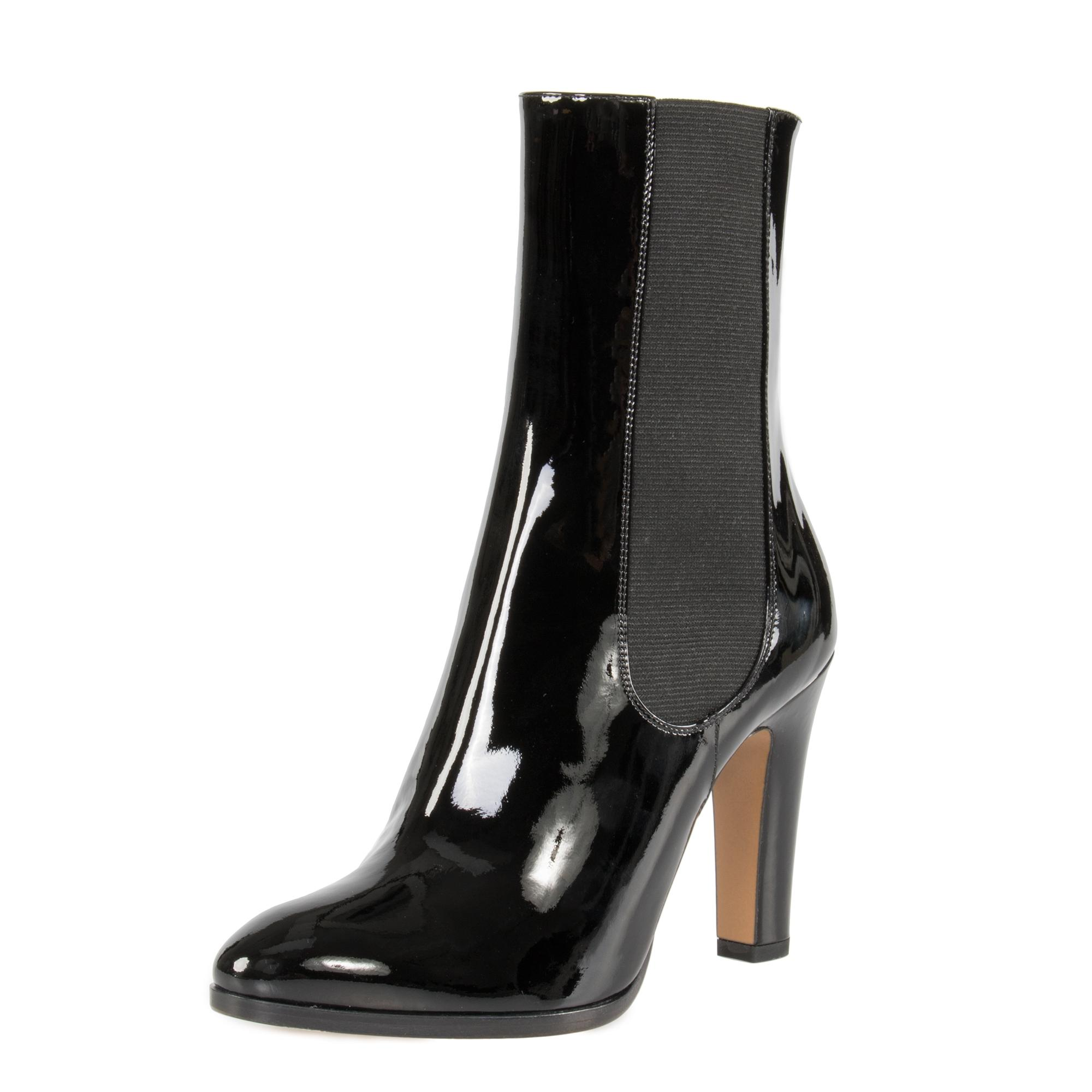 chanel patent leather mid calf stretch black w high heel