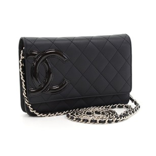 Chanel Leather Wallet Chain Black Clutch