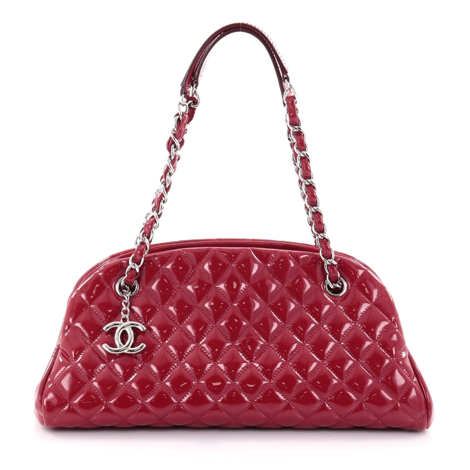 Chanel Mademoiselle Just Handbag Quilted Patent Medium Red