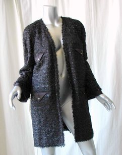 Chanel Metallic Tweed Fringe Black Jacket