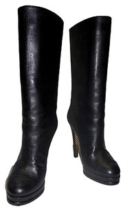 Chanel Leather Mid Calf High Heeled Quilted Platform Zip Up Black Boots
