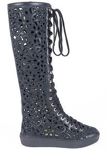 Chanel 15s Floral Perforated Leather Cc Logo High Eu Black Boots