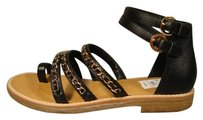 Chanel New 3 Straps 2 Ankle Strap Black Sandals