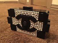 Chanel Pearl Lego Rare Minaudiere Collector's Item Black Clutch