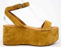 Chanel 15s Strappy Suede Platform Wedge Eu Dark Beige Sandals