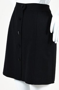 Chanel Wool Cc Front Skirt Black