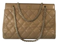 Chanel Quilted Leather Tote in Beige