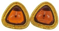 Chanel RARE Auth CHANEL Vintage CC Logos Stones Earrings Clip-On Gold 28 France LP05048