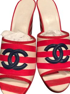 Chanel Red & White Stripes Dark Navy Large CC'Logos Sandals