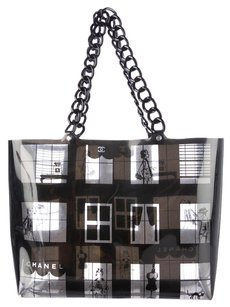 Chanel Resin Pvc Clear Transparent Tote in Black