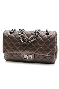 Chanel Quilted Lambskin Hybrid Double Flap Satchel in Brown