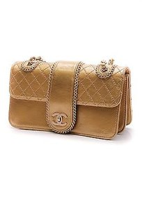 Chanel Quilted Patent Leather Madison Flap Satchel in Gold