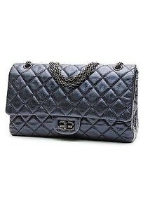 Chanel Quilted Satchel in Metallic blue