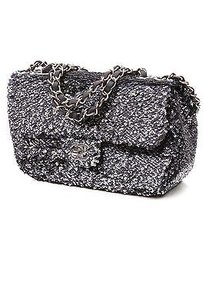 Chanel Sequin Single Flap Satchel in Navy blue, silver
