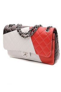 Chanel Quilted Lambskin Satchel in Red, black, white