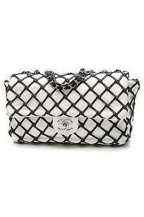 Chanel White Lambskin Satchel in White, black