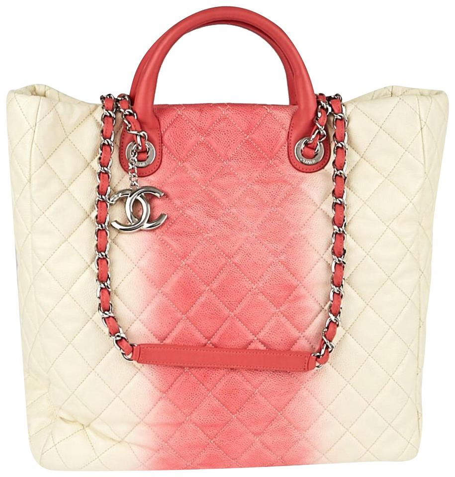Chanel Shopping Tote White/Rose Ombre Quilted Caviar ...