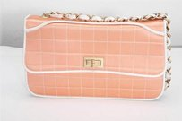 Chanel Womens Peach Quilted Shoulder Bag