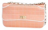 Chanel Womens Peach Quilted Satin Chain Flap Handbag Shoulder Bag