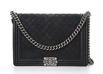 Chanel Black Suede Caviar Boy Shoulder Bag