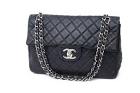 Chanel Navy Caviar Quilted Jumbo Classic Double Flap Silver Shoulder Bag