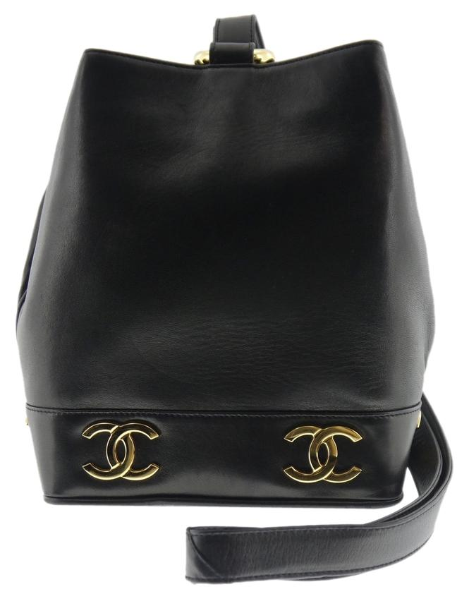 Chanel Ramb Skin Cc Logo Black Leather Shoulder Bag on sale - www ...
