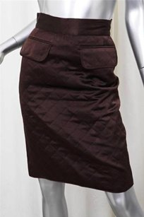 Chanel Brown Quilted Silk Double Front Pocket Logo Skirt